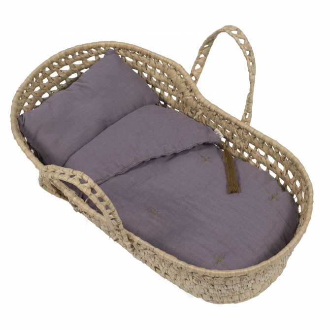 Basket for doll bed linen dusty lilac