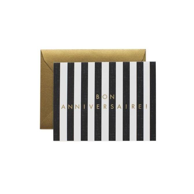 Kartka Stripes biało-czarna