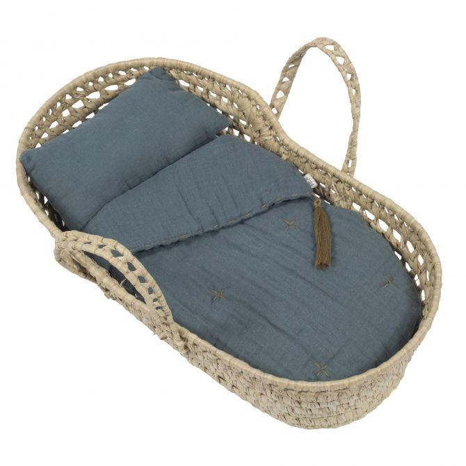 Basket for doll bed linen ice blue