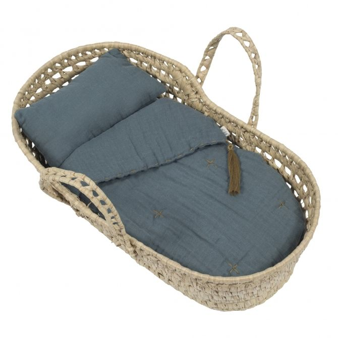 Koszyk dla lalek szaroniebieski