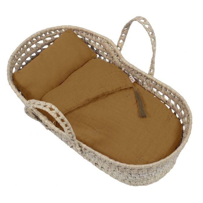 Basket for doll bed linen gold