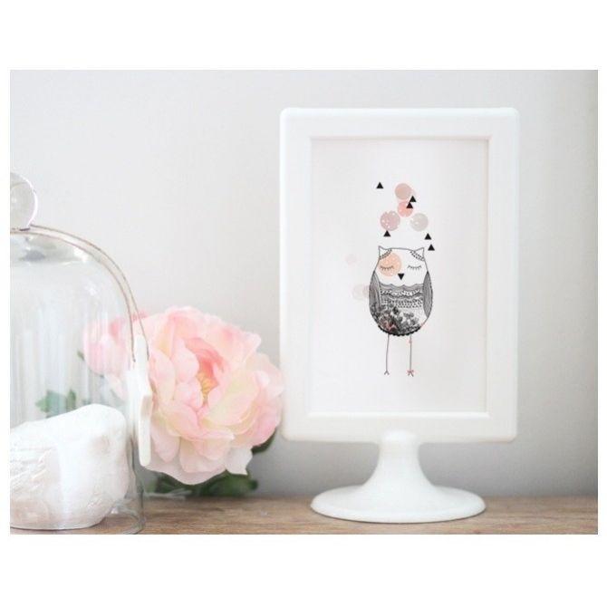 Kartka Owl różowa