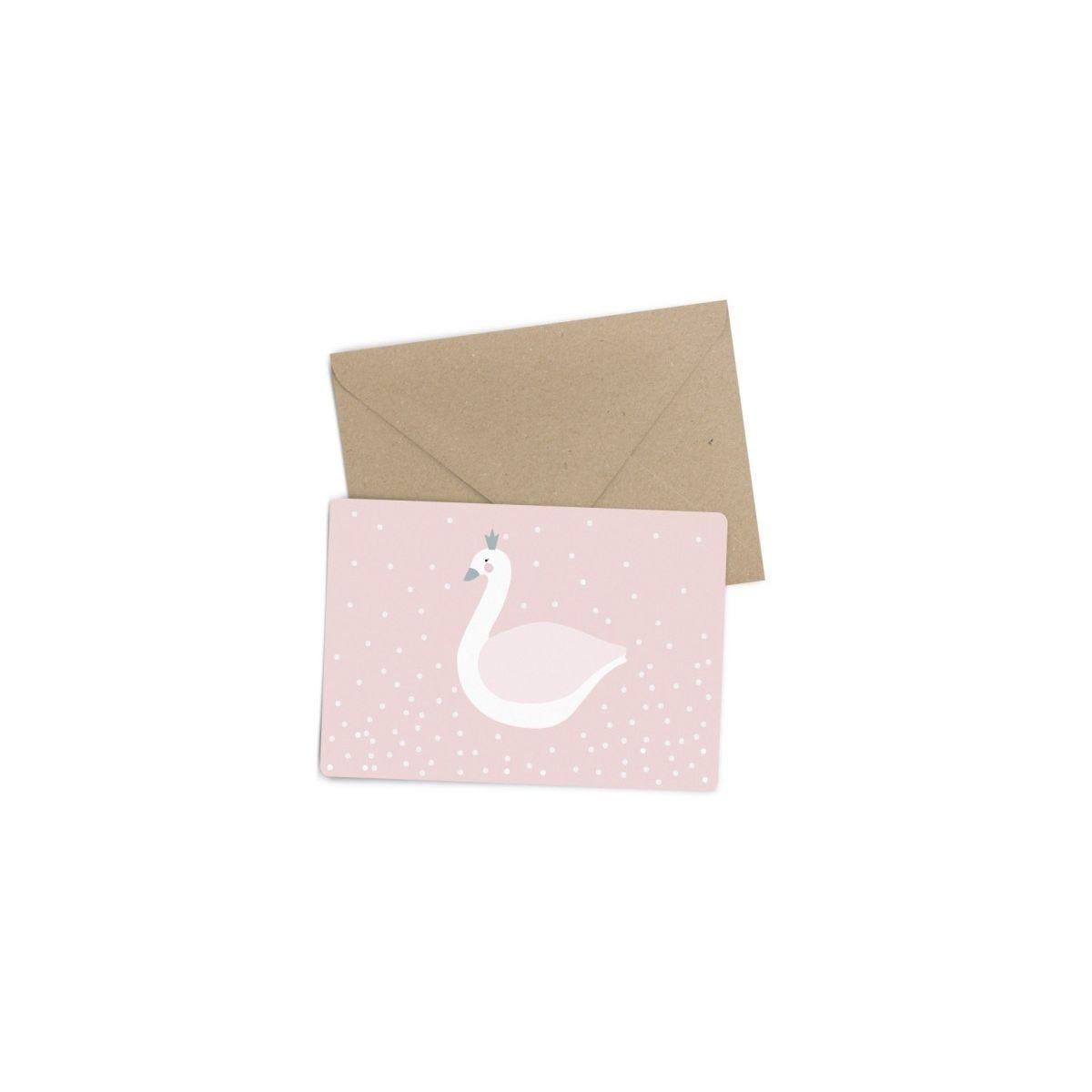 Kartka Postcard Swan łabędź