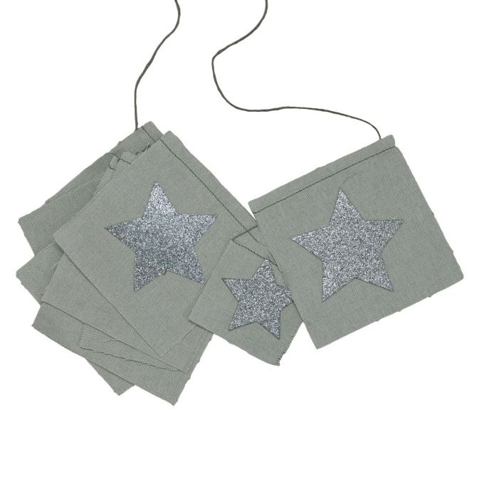 Numero 74 Girlanda Fancy brokatowe gwiazdki srebrnoszara