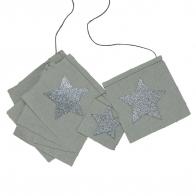 Fancy Garland glitter stars silver grey