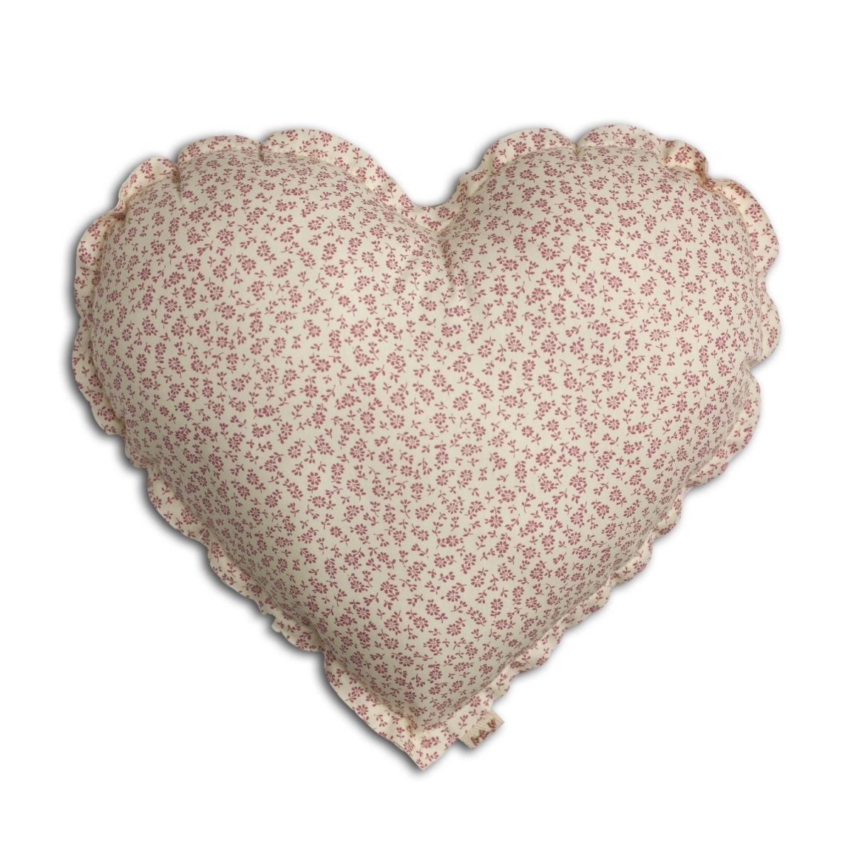 Heart Cushion cream with pink flowers - Numero 74