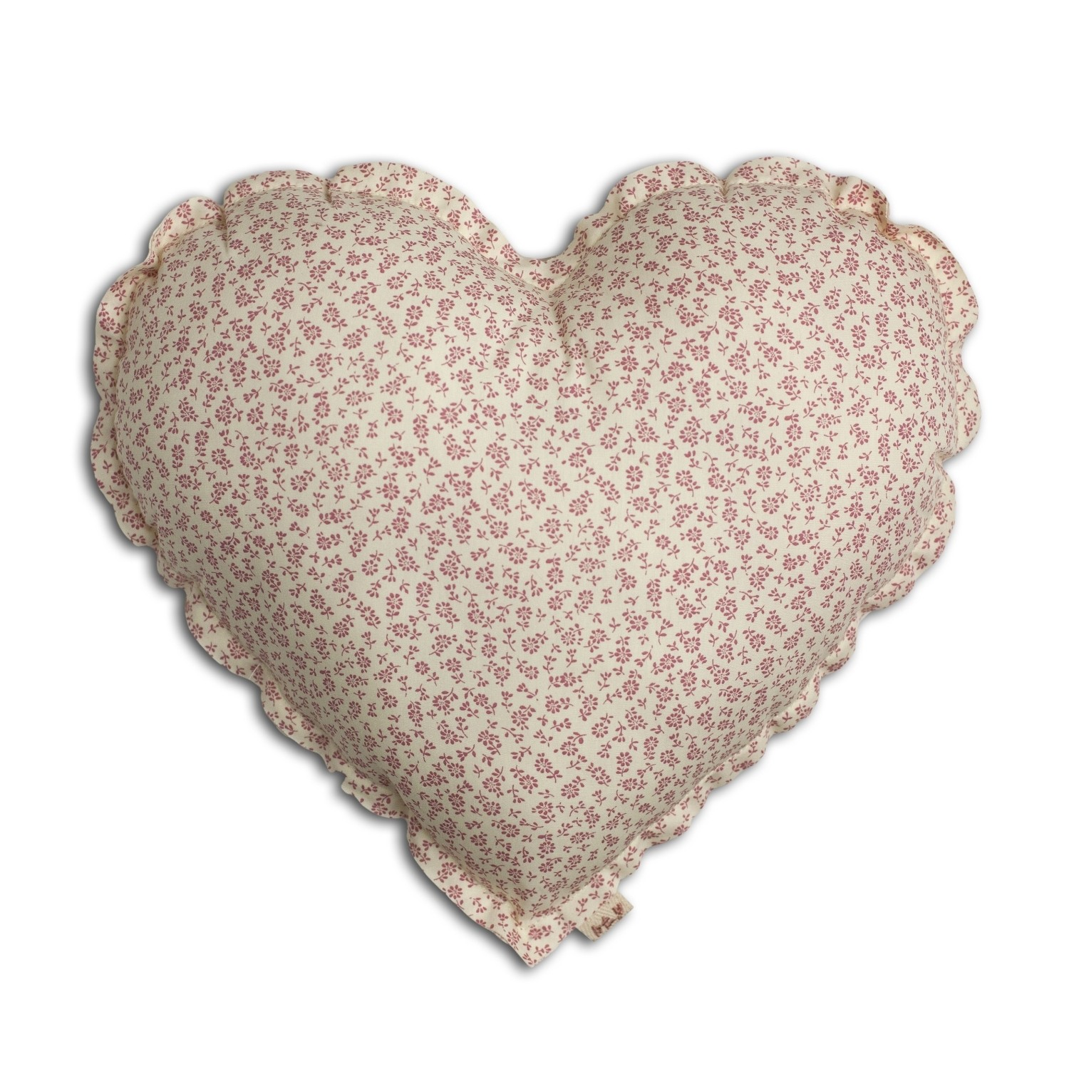 Heart Cushion cream with pink flowers
