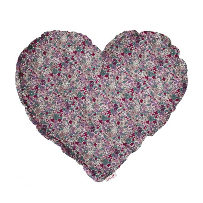 Heart Cushion white with colorful meadow - Numero 74