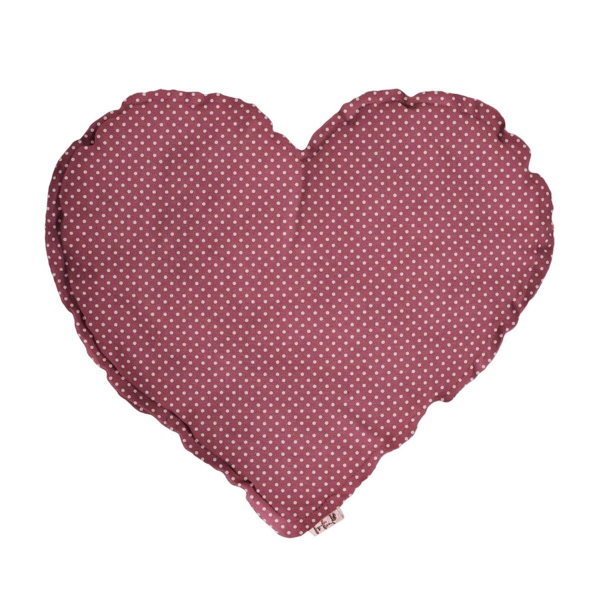 Numero 74 Poduszka Serce różowa w białe kropki