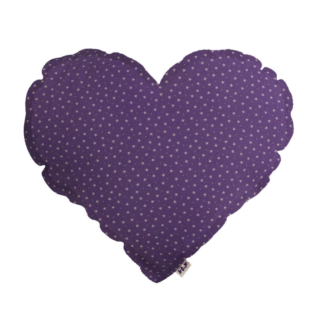 Numero 74 Poduszka Serce fioletowa w beżowe gwiazdki
