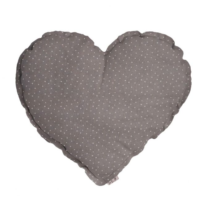 Heart Cushion grey with beige stars and dots - Numero 74
