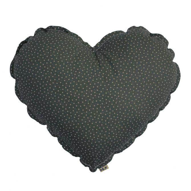 Poduszka Serce szaroniebieska w szare gwiazdki - Numero 74