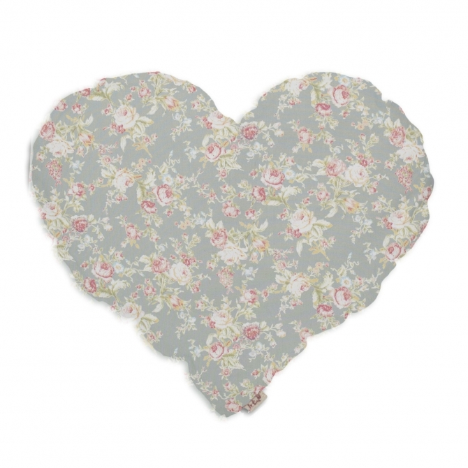 Heart Cushion silver grey with colorful flowers - Numero 74