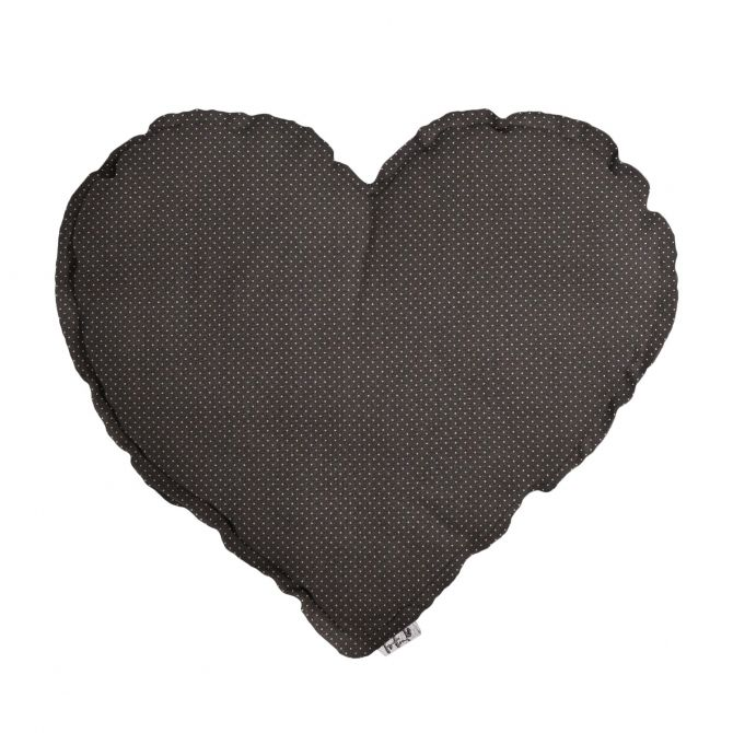 Heart Cushion taupe with small dots - Numero 74
