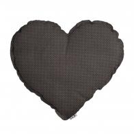 Poduszka Serce brązowoszara w białe kropeczki