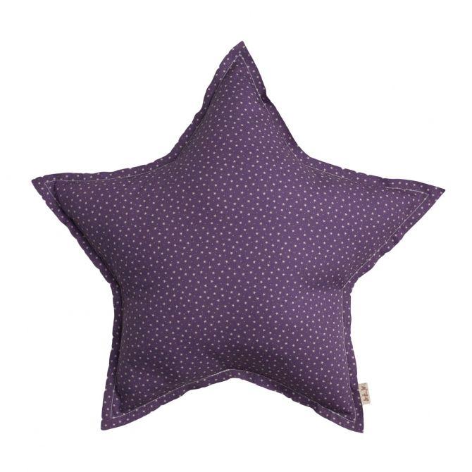 Numero 74 Poduszka Gwiazda fioletowa w beżowe gwiazdki