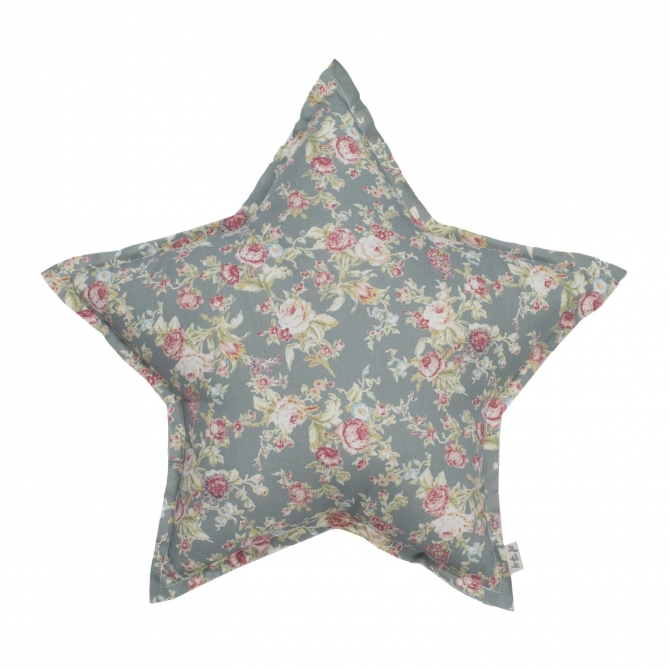 Star cushion silver grey with colorful flowers - Numero 74