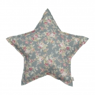 Star cushion silver grey with colorful flowers