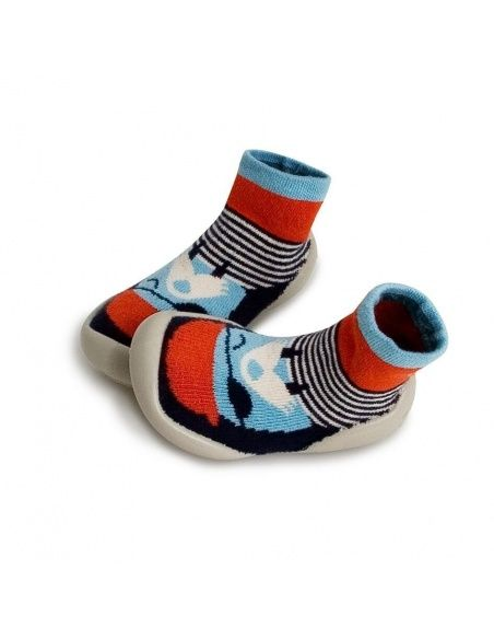 Collégien Slipper Socks Walrus Beard red and blue