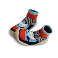 Slipper Socks Walrus Beard red and blue