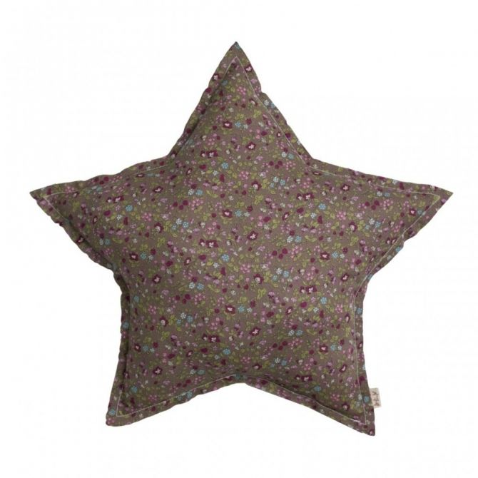 Star cushion brown with colorful flowers - Numero 74