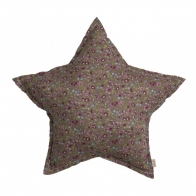 Star cushion brown with colorful flowers