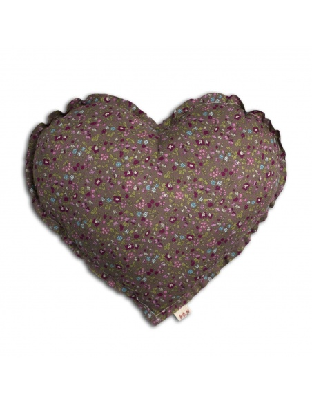 Heart Cushion brown with colorful flowers - Numero 74