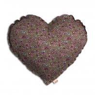 Heart Cushion brown with colorful flowers