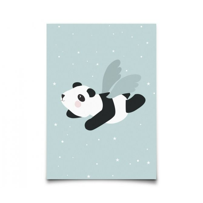 Poster Flying Panda mint - Eef Lillemor