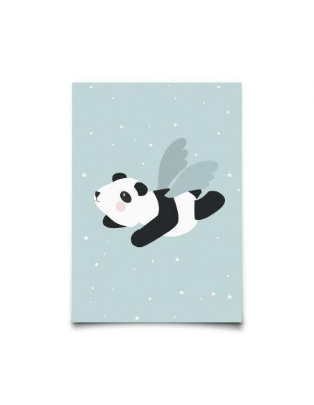 Plakat Flying Panda miętowy - Eef Lillemor