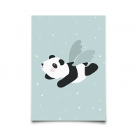 Poster Flying Panda mint