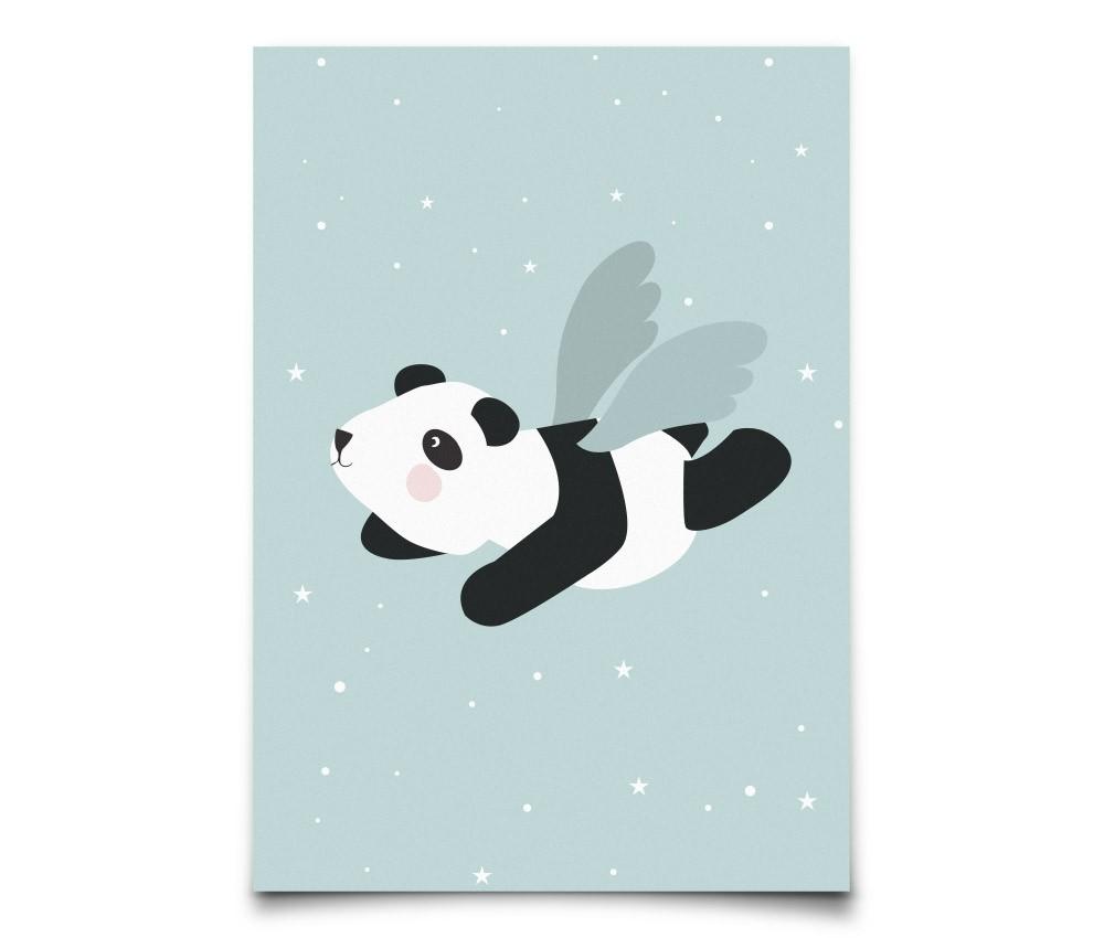 Plakat Flying Panda miętowy