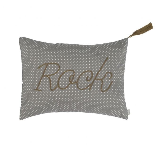 Cushion Message med dots grey with cream dots - Numero 74