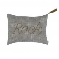 Cushion Message med dots grey with cream dots