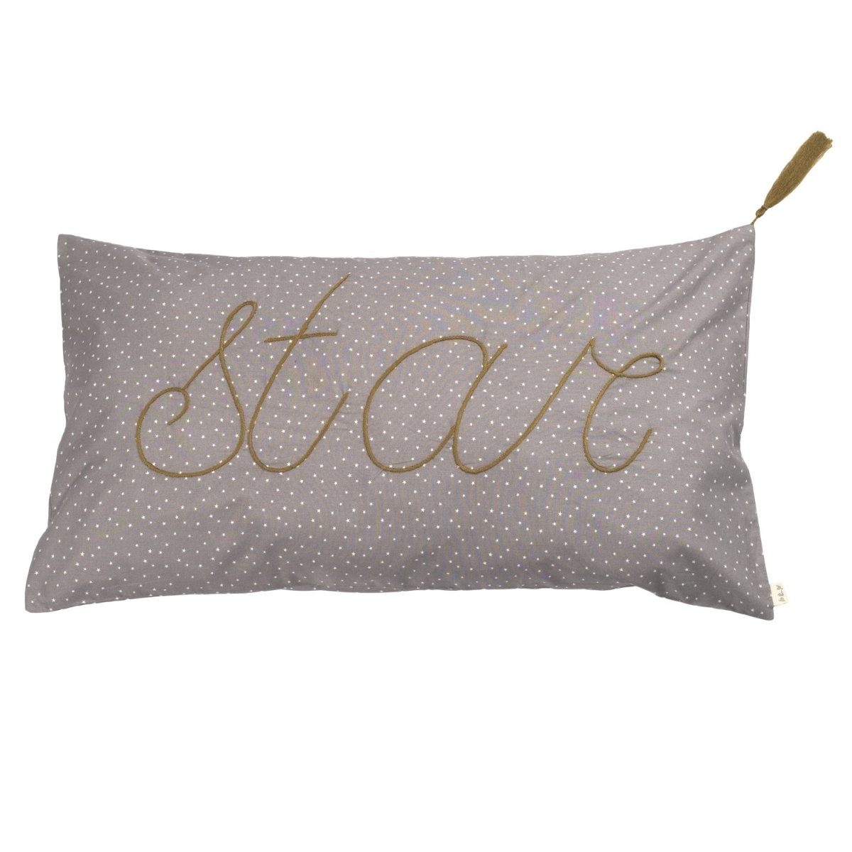 Cushion Message stars silver grey with white stars - Numero 74
