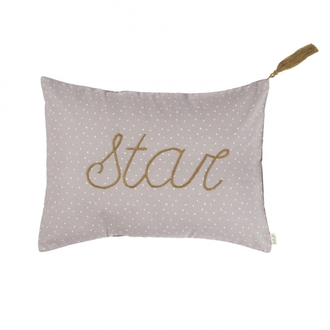 Numero 74 Cushion Message Stars silver grey