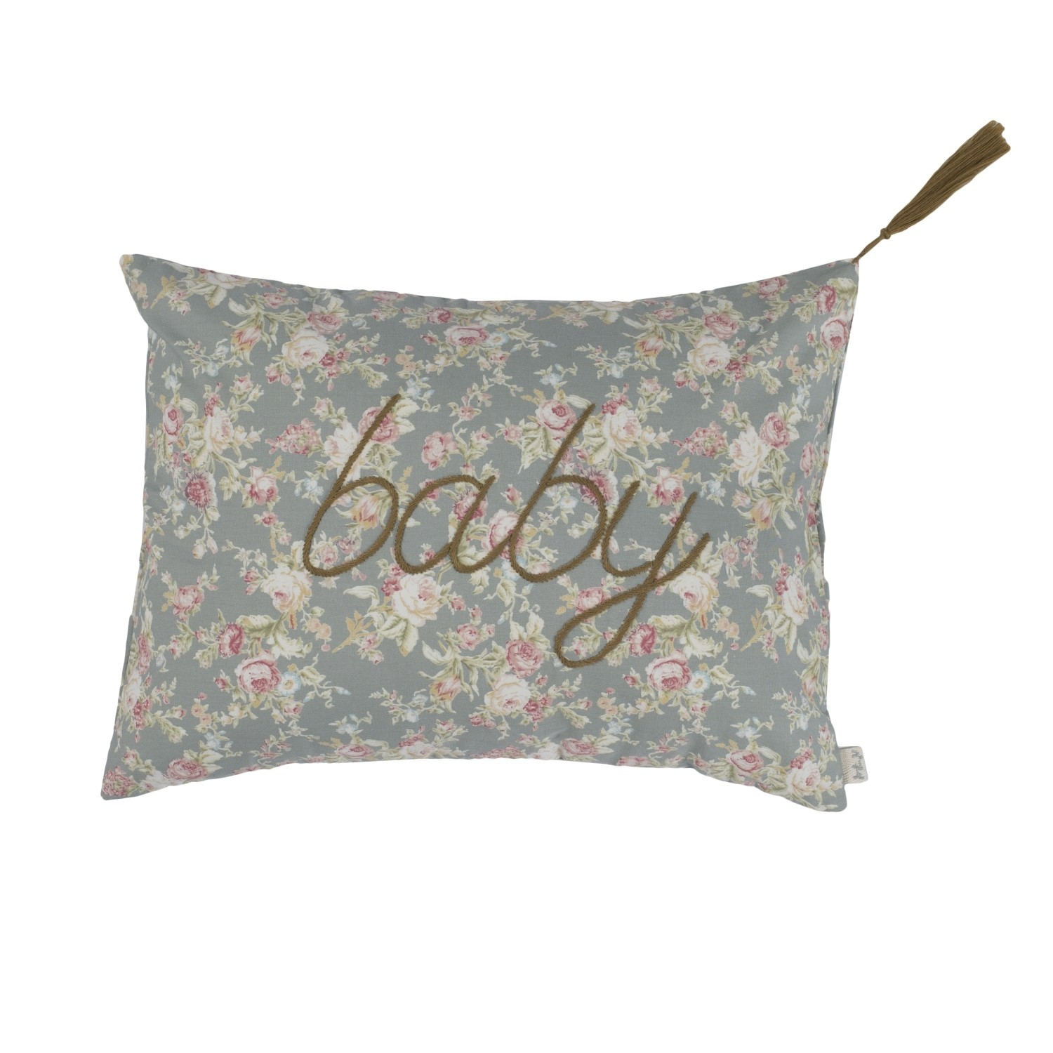 Cushion Message josephine silver grey with colorful flowers
