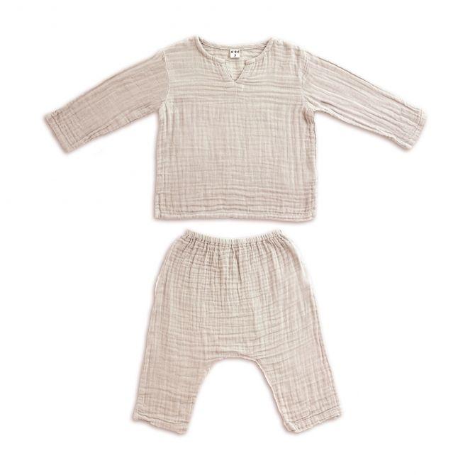 Komplet Zac koszulka & spodnie pudrowy - Numero 74