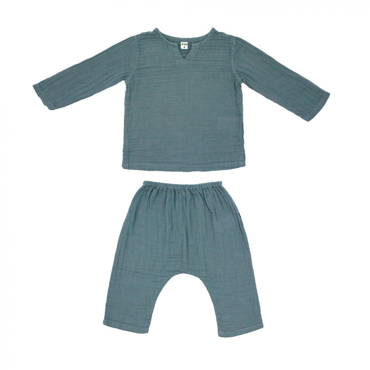 Komplet Zac koszulka & spodnie szaroniebieski - Numero 74