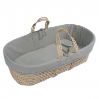 Moses Basket bed linen silver grey