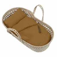 Doll basket bed linen gold
