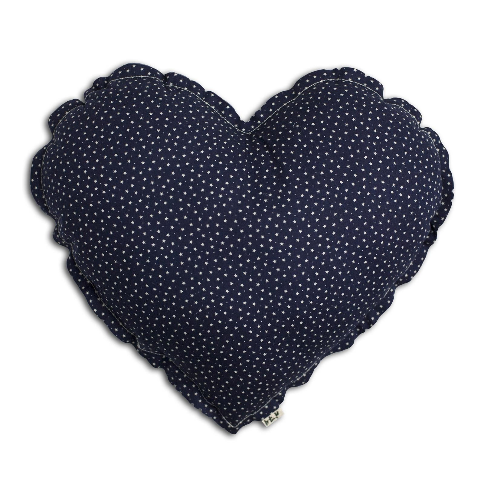 Heart Cushion night blue with white stars