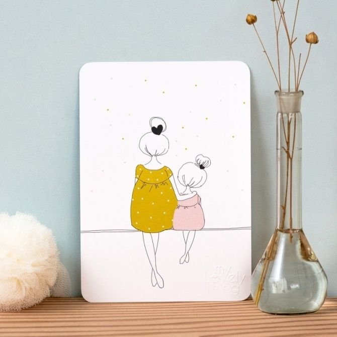 My Lovely Thing Postcard Love Mum and Girl summer