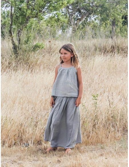 Spódnica dla dziewczynek Ava długa srebrnoszara - Numero 74
