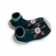 Slipper Socks Flower Power navy
