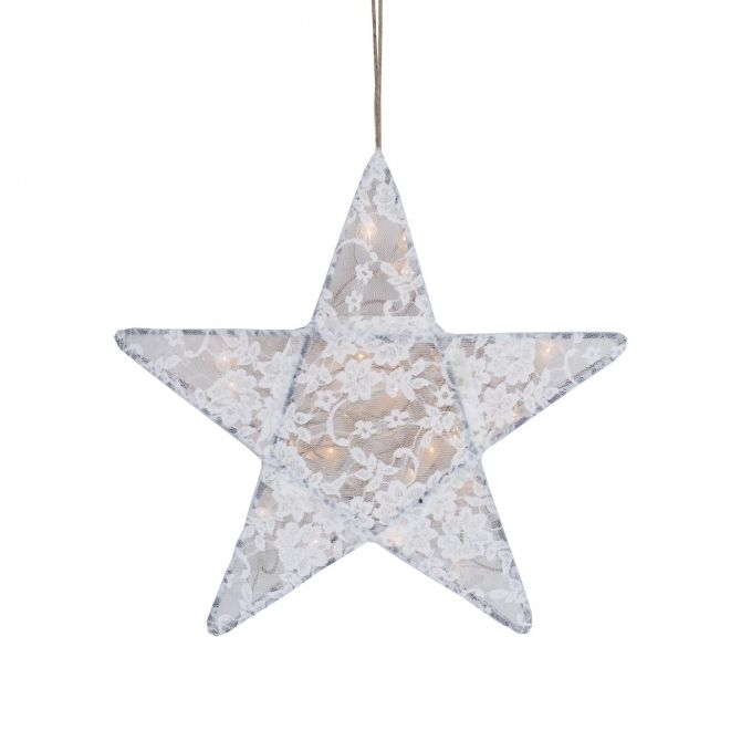 Lampa Gwiazda koronka w kwiaty biała - Numero 74