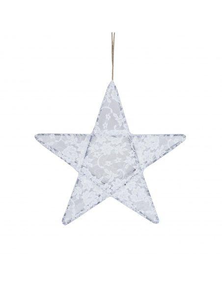 Numero 74 Lampa Gwiazda koronka w kwiaty biała