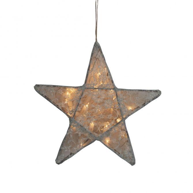 Lampa Gwiazda koronka w kwiaty szara - Numero 74