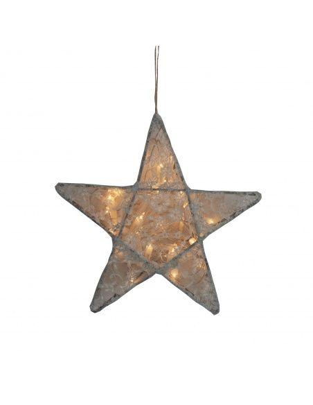 Numero 74 Lampa Gwiazda koronka w kwiaty srebrnoszara