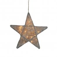 Lampa Gwiazda koronka w kwiaty srebrnoszara